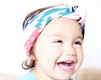 Headband, turban, baby headband, toddler headband- tribal print jersey- bohemian headband-ready to ship, kid gift, gift idea, baby gift