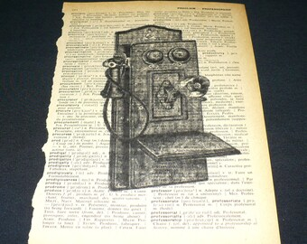 Antique Telephone Dictionary Art Print Vintage Book Page Art Home Decor Gallery Wall