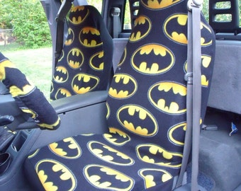 1 Set Of Batman Comic Print Car Seat Covers And Steering