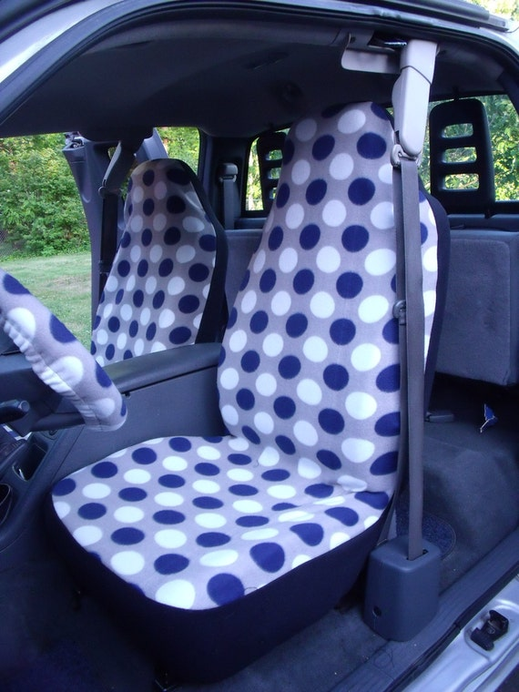 1 Set of Navy Blue/White Dots Print and Steering Wheel Cover Custom Made.