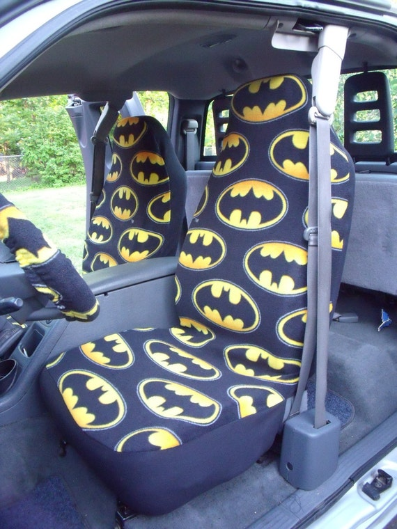 1 Set of Batman Logo Unidirectional Design Print and Steering Wheel Cover Custom Made.