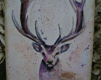 STAG, Watercolour Print, painting, plaque. Ready to hang artwork 29 x 20cm