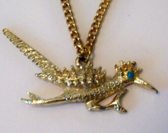 Roadrunner Necklace. Gold Tone On 16 Inch Chain. Bird Figural Jewelry.
