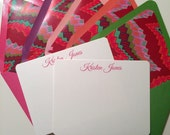 Personalized Stationery Flat Note Card Set with Ikat Design Lined Envelopes
