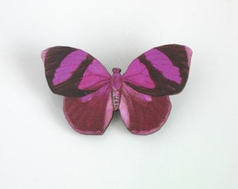 Magenta Pink Butterfly Pin Laser Cut Wood Butterfly Brooch Wooden Butterfly Jewelry