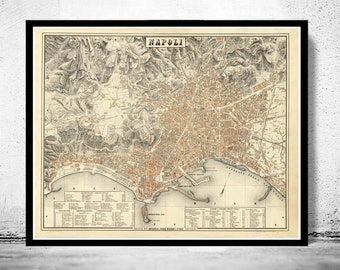 Old Map of Napoli Naples 1880 City Map