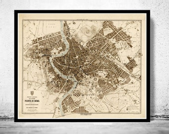 Vintage Map of Rome Roma, Italia 1892 Antique map of Rome
