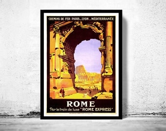 Vintage Poster of Rome Italy Italia  1921 Tourism poster travel