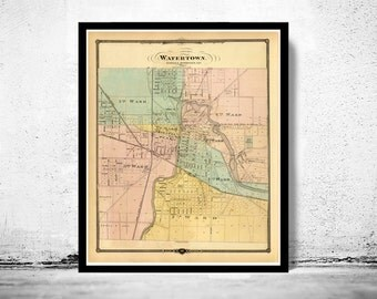 Old Map of Watertown Wisconsin 1878
