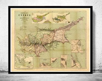 Vintage Map of Cyprus 1878
