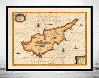 Old Map of Cyprus 1653