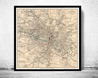 Old Map of Glasgow, Scotland 1910