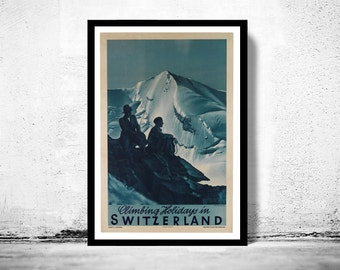 Vintage Poster of Switzerland, Travel Poster Tourism 1930-40