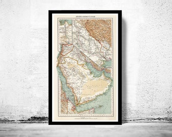 Old Map of Middle East Arabia Vintage map 1929