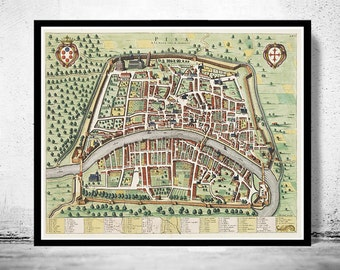 Old Map of Pisa, Italia 1700 Antique Vintage Map Italy engraving