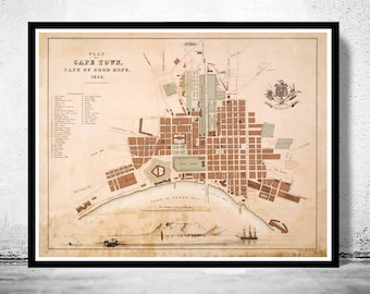 Old Map of Cape Town South Africa Kaapstad