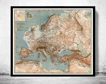 Old Europe Map Antique 1875 German Edition