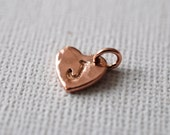 Hand Stamped Initial Sweetheart Tag Charm in 24K Rose Gold Vermeil - one (1) add-on personalized and hand stamped tag charm