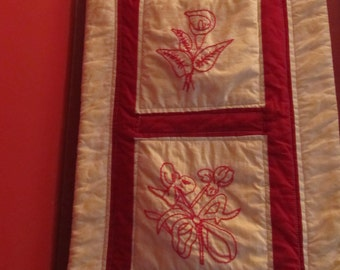 Hand Stitched Red Work Wallhanging
