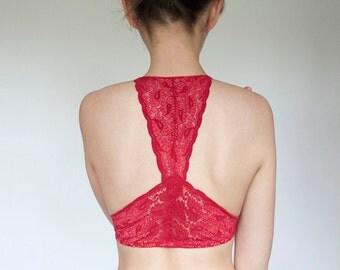 Red Lace Bralette. Racer Style Back. Halter Wireless Soft Bra Top. Unique Lingerie