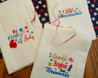 Baby Burp Cloth 4th of July your choice - 3 Designs  Adorable Baby Shower Gift READY to ShiP! Limited Edition Designs by Sugarbear Boutique