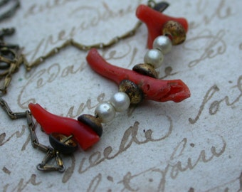 French vintage bronze necklace with red coral white pearl bronze chain