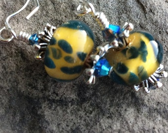 Earrings - Yellow with Navy boro Blue frit Spots