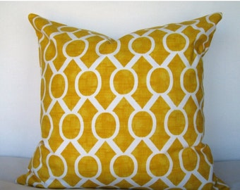 ON SALE 18x18 Pillow Cover. Sydney Corn Yellow pillow cover. Sydney Print Pillow Cover.