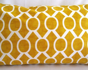 12x20 Pillow Cover, Sydney corn yellow and white lumbar pillow cover. Invisible zipper closure pillow cove