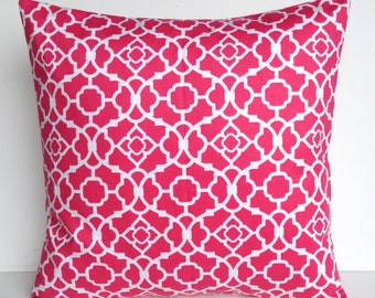 One waverly pink print pillow covers, cushion, decorative throw pillow, coral pillow, 18x18, nautical pillow