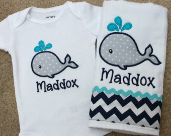 Applique Baby Onepiece Bodysuit and Burp Cloth Set - Whale