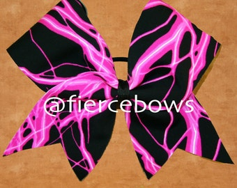 Pink Lightning Cheer Bow
