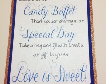 Candy Buffet Table Sign, Candy Bar Welcome Sign