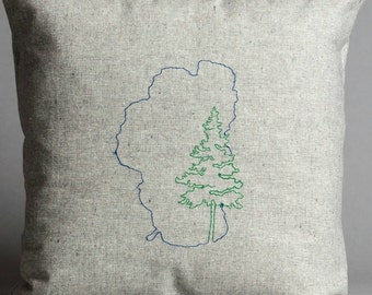 Lake Tahoe Embroidered Pillow in Hemp and Organic Cotton