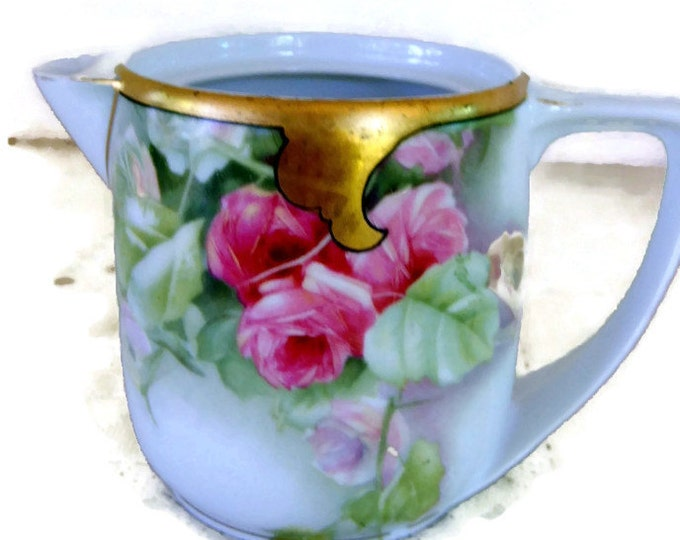 Rosenthale, Selb-Bavaria, Donatello Porcelain Creamer, wide gold top band, pink roses, maker stamp number, bright gold, mother's day gift