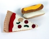 Felt Food, Pizza  and Hotdog, Play Food, Pretend food, Play Kitchen, Felt Toys, Play Toys, Handmade Pretend Food