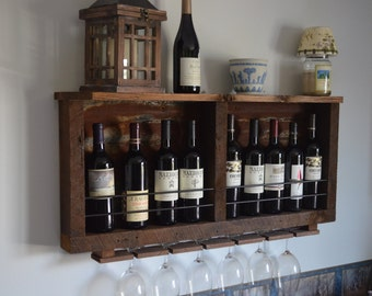 Rustic wine rack, Reclaimed barn wood - with rusted Tin barn roof and shelf, includes wine glass holder