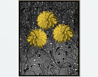 Yellow Gray Wall Art Photography/Decorative Floral Bathroom/Bedroom Home Decor Matted Pictue