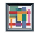 Abstract Modern Cross Stitch Chart Pattern - Abstract Coaster cross stitch chart -  xstitch Chart - xstitch pattern
