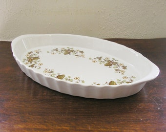 Vintage Milton Brook Casserole Au Gratin Dish Pan Bowl Yellow Flowers oval ceramic Cookware vintage kitchen made in England (X)