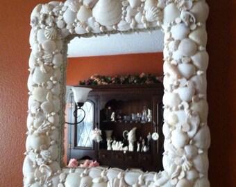 SALE....SALE..,,Coastal White Seashell Mirror