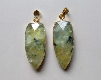 Pear Shape Faceted Prehnite Pendants  - B1228