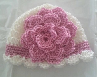 Bella Baby Girl Crocheted Hat with Large Flower