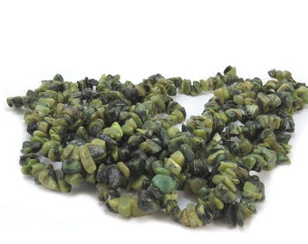 Serpentine Chips, Olive and Forest Green 15 inch Strand, Natural Serpentine Gemstone Strands, Item 541gss