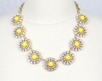 Daisy Necklace Yellow Flower Necklace Statement Necklace Sunflower Necklace Rhinestone Necklace Yellow Cabochon Necklace