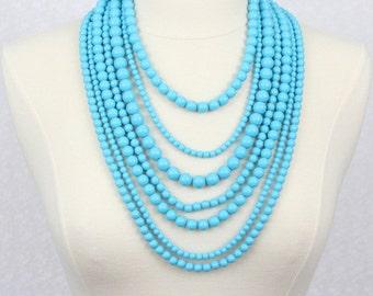 Blue Multi Strand Beads Necklace Statement Necklace Multi Layered Beaded Necklace Seven Strand Beads Necklace