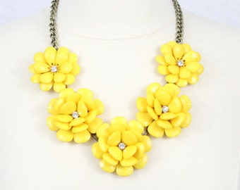 Yellow Flower Necklace Statement Necklace Beaded Rose Necklace Peony Necklace