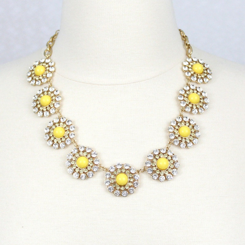 necklace yellow flower necklace statement necklace