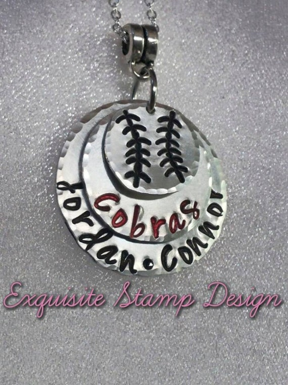 Baseball Mom Jewelry - Baseball Necklace - Sports - Personalized - Hand Stamped - ExquisiteStampDesign - Stacked Necklace - Baseball Dad