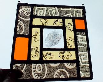 Fingerprint, Stained Glass windows, window-decoration, glassart, funny